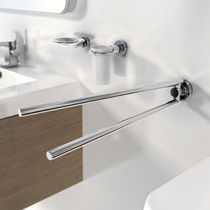 2-bar towel rack / wall-mounted / brass