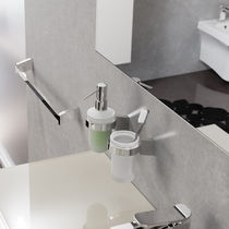 Commercial soap dispenser / wall-mounted / metal / manual