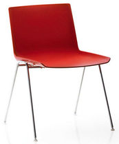 Contemporary visitor chair / stackable / polyurethane-coated / polypropylene