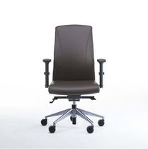 Contemporary office armchair / fabric / leather / swivel
