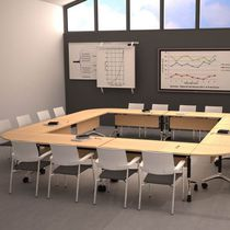 Contemporary conference table / wooden / rectangular / with integrated electrical outlet