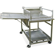 Donut glazing prep table / stainless steel / on casters / with storage compartment