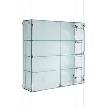 Contemporary display case / wall-mounted / glass / stainless steel ...