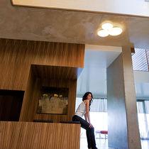 Contemporary ceiling light / round / blown glass / halogen