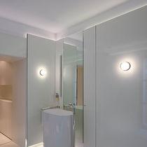Contemporary wall light / bathroom / chromed metal / glass