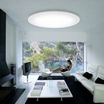 Contemporary ceiling light / round / steel / methacrylate