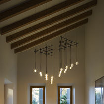 Pendant lamp / contemporary / steel / blown glass