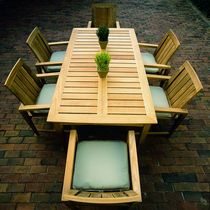 Contemporary table / wood / garden