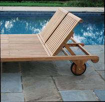 Contemporary sun lounger / wooden / garden / double