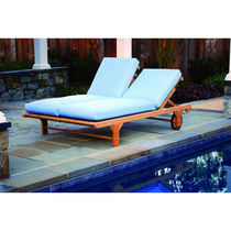 Contemporary lounge chair / wooden / garden / double