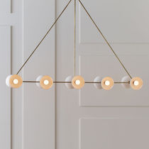 Pendant lamp / contemporary / brass / porcelain