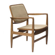 Contemporary armchair / solid wood / wooden