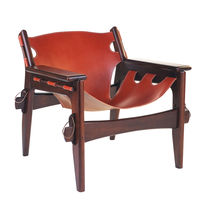 Contemporary armchair / leather / wooden / cowhide