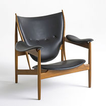 Contemporary armchair / upholstered / leather / teak
