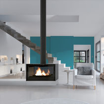 Wood heating stove / contemporary / double-sided / metal