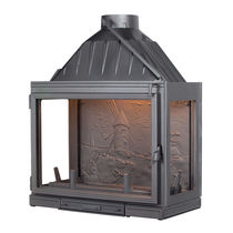 Closed wood hearth / 3-sided / cast iron