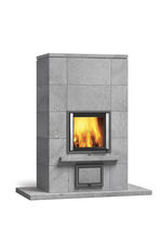 Wood heating stove / contemporary / stone