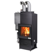 Closed pellet hearth / multi-fuel / 1-sided / metal