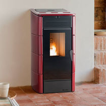 Pellet boiler stove / contemporary / earthenware