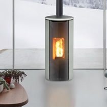 Pellet heating stove / contemporary / soapstone / round