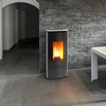 Pellet heating stove / contemporary / steel / soapstone