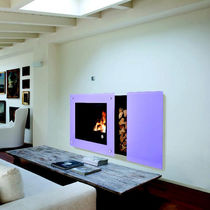 Contemporary fireplace surround / glass