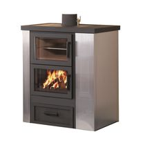 Pellet boiler stove / wood / contemporary / metal