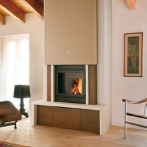 Contemporary fireplace mantel / stone