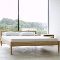 Double bed / contemporary / with headboard / beech