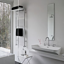 Hot water towel radiator / steel / contemporary / vertical