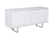 Contemporary sideboard / lacquered MDF / lacquered metal / with shelf
