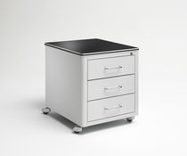 Metal office unit / laminate / 2-drawer / on casters