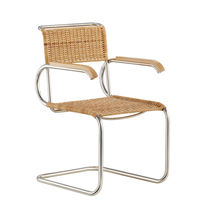Bauhaus design chair / with armrests / cantilever / fabric