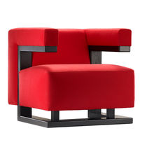 Bauhaus design armchair / walnut / fabric / leather