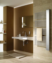 Hot water towel radiator / metal / contemporary / bathroom