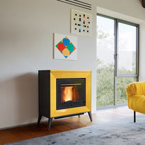 Pellet heating stove / contemporary / steel / ceramic