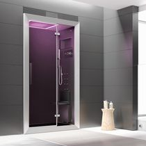 Multi-function shower cubicle / hydromassage / glass / chromotherapy