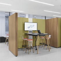 Removable partition / fabric / wooden / for offices
