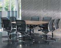 Contemporary boardroom table / wooden / aluminum / rectangular