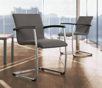 Contemporary office chair / with armrests / upholstered / cantilever