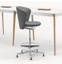 Fabric task stool / upholstered / swivel / adjustable