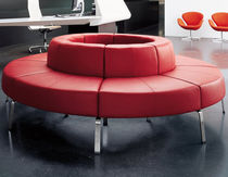 Modular upholstered bench / contemporary / fabric / leather