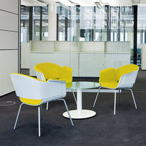 Contemporary visitor chair / with armrests / upholstered / swivel