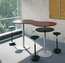 Contemporary high bar table / metal / rectangular / round