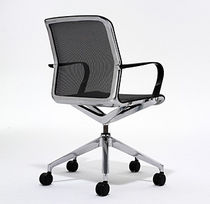 Contemporary office chair / with armrests / upholstered / on casters
