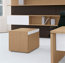 Aluminum office unit / wooden / glass / 2-drawer