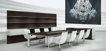 Contemporary conference table / wooden / aluminum / rectangular