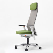 Contemporary office armchair / fabric / mesh / swivel
