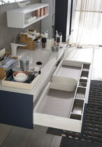 contemporary bathroom lacquered wood glass - Meuble Delpha Unique Onde
