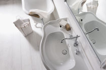 Double-handle washbasin mixer tap / free-standing / stainless steel / bathroom